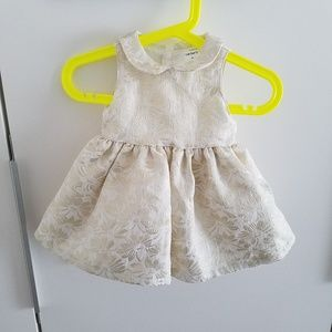 Carter's 3 mo Fancy Gold & White Holiday Dress